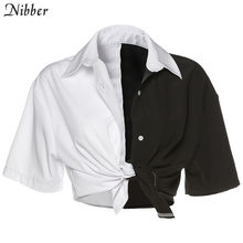 Женский топ Nibber, Свободный укороченный топ в стиле уличного панк с рукавами для отдыха, модная офисная облегающая футболка контрастных цвет...(Китай)