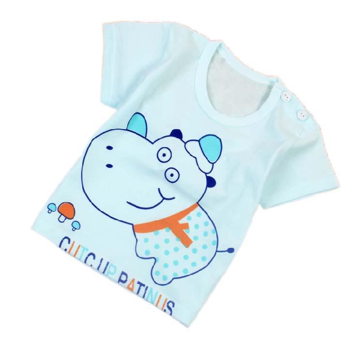 Hot spring summer baby underwear 0-3 years old 100% cotton cartoon printed short sleeve T-shirt