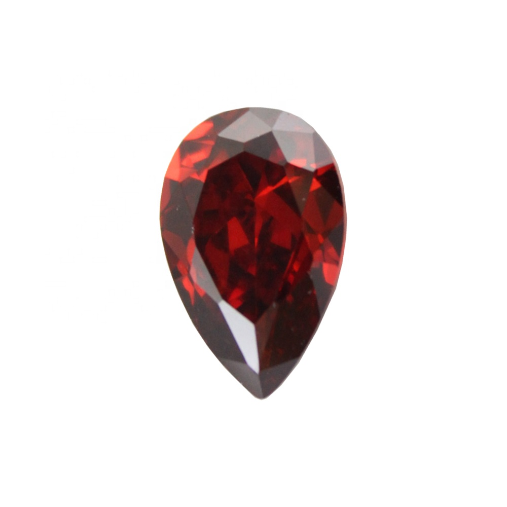 brilliance jewelry garnet color <strong>Pear</strong> Cut cubic <strong>zirconia</strong>