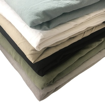 Solid color stonewashed soft plain dyed blend 55% linen 45% cotton fabric for cloth