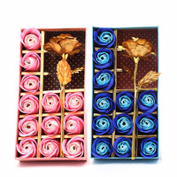 24K Gold Plated Rose Flower & Soap Flower Set Birthday Valentine'S Day Anniversary Gift Box
