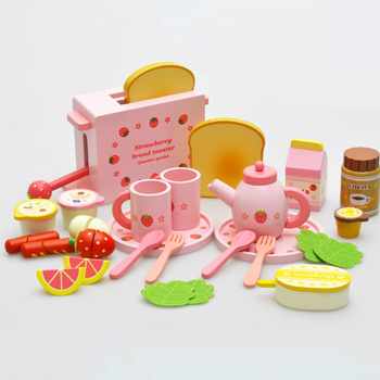 2020 new wooden play afternoon tea pretend food set for children