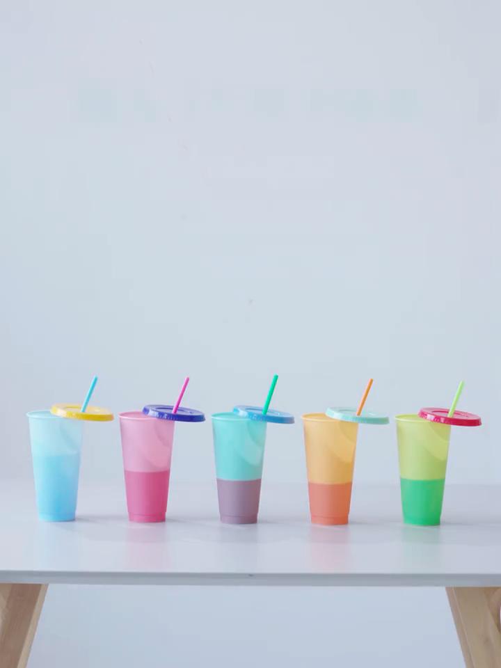 24 온스 빈 색상 변경 음료 텀블러 재사용 플라스틱 색상 변경 컵 빨대 세트 5