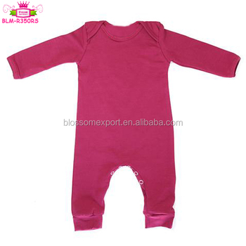 Fall Monogram Wholesale Newborn Baby Clothes Jumpsuit Blanks Solid Burgundy Long Sleeve Long Leg Sleepsuit Baby Grow Onesie