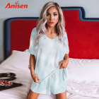 Sexy Women Silk Sleepwear Sexy New Design Fleece Nightwear Sexy Women Silk Tie Dye Sleepwear Dress