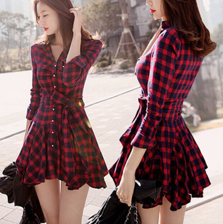 Fashion ladies <strong>dresses</strong> long sleeve ladies <strong>western</strong> plaid lady <strong>woman</strong> casual <strong>dress</strong>