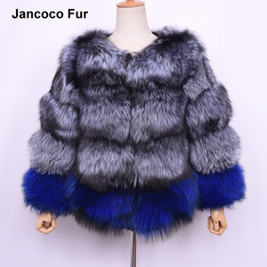 New Design Real Silver Fox Fur Coat Women's Fashion Mixed Color Natural Fur Jacket High Quality Thick S7517