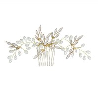 Fashion Elegant Bridal Gold Plated Handmade Pearl Hair Comb Accessories For Women