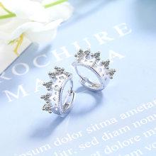 Женские дизайнерские серьги-кольца Crown Flower, из стерлингового серебра 925 пробы, модные ювелирные изделия с кубическим цирконием, аксессуары(Китай)