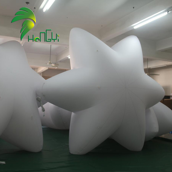 Advertising white giant inflatable lighting star , LED Inflatable star shape balloon for event