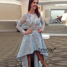 Серебристые кружевные платья для выпускного вечера, элегантные коктейльные платья трапециевидной формы длиной до колена с длинным рукавом(Китай)