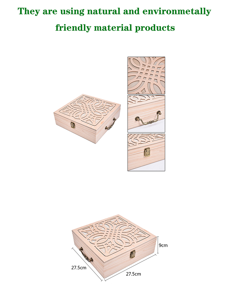 Wooden tea gift box solid wood lock storage box pine jewelry porcelain wooden box