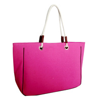 High quality elegant and fashion pink polyester splicing shopping bag women casual canvas tote handbag