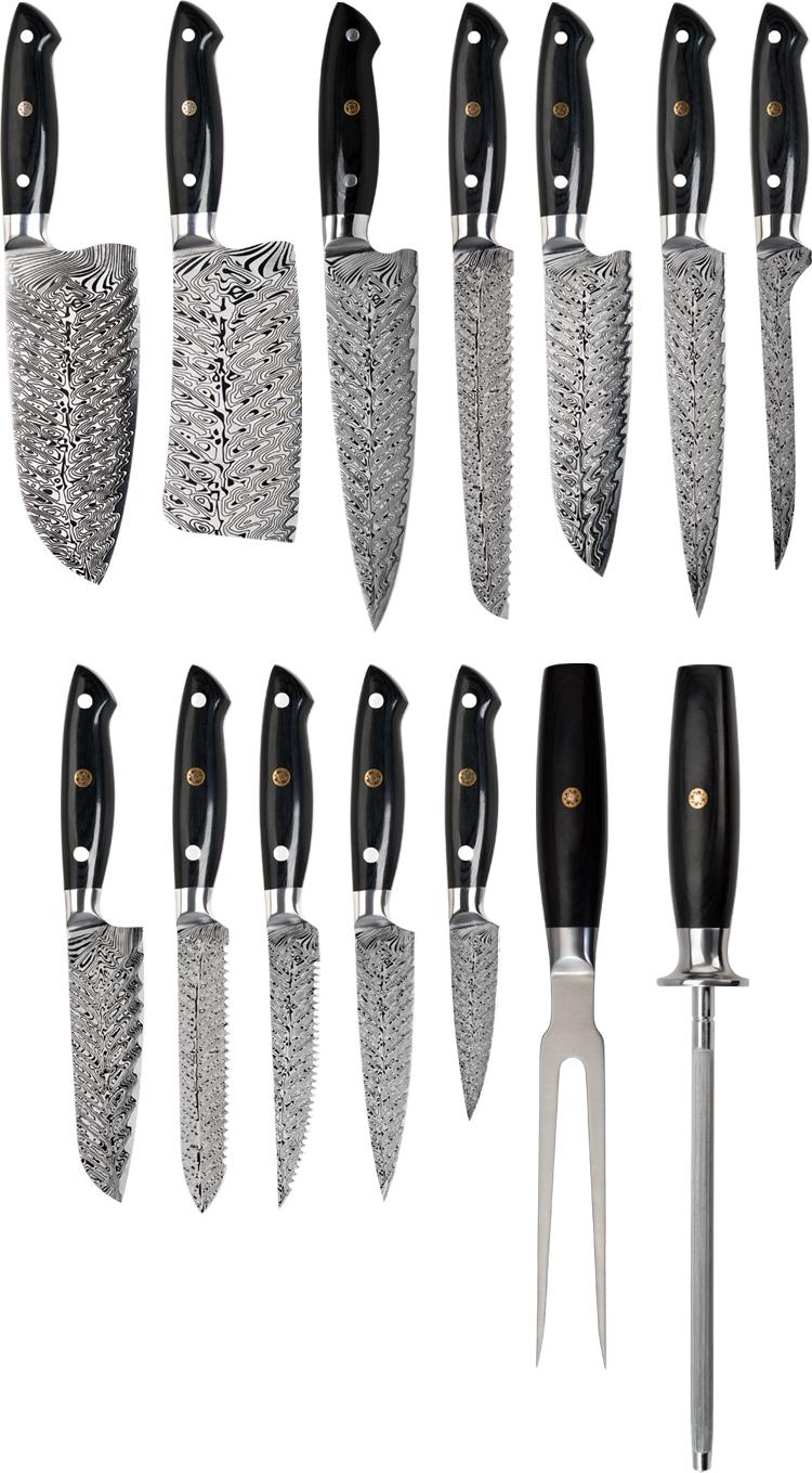 Konoll Over 20 Jaar OEM Ervaring Keuken Mes Productie 8Inch Damascus Fishbone Patroon Laser RTS Lage MOQ Top Sales messen