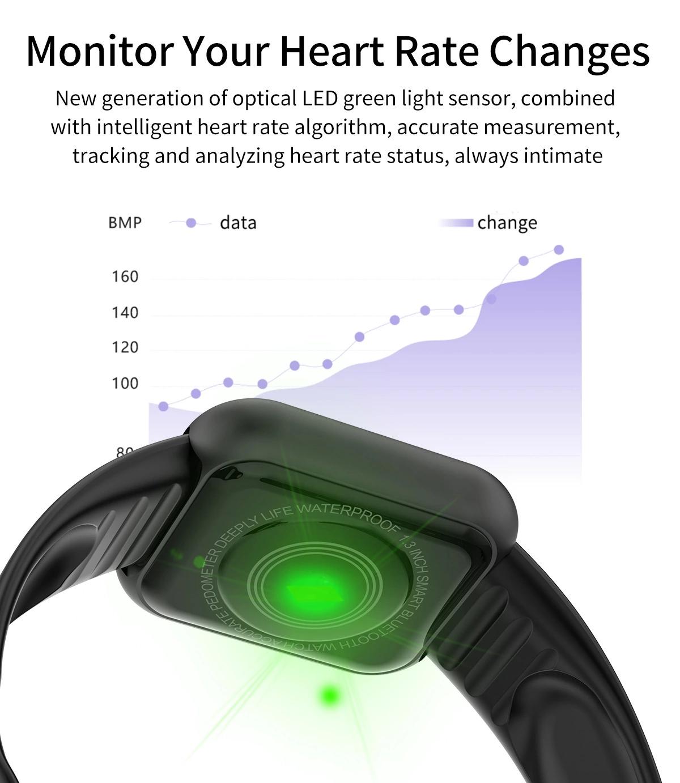 Bracelet Fitness Tracker Sport Watch Band Heart Rate Blood Pressure Message Reminder Waterproof IP67 smart watch