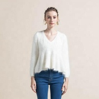 2019 V-neck Long Sleeve Winter Women Rabbit Fur Sweater