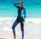 Female long sleeve wetsuit one piece quick dry surfing suit printing color matching swim suit