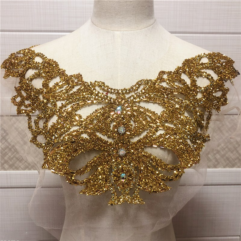 new Gold double side wedding embroidered crystal rhinestone collar necklace appliques