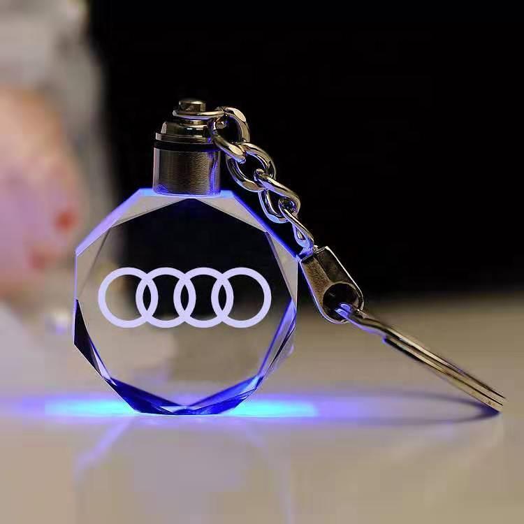 Wholesale Customize Car Logo Colorful LED Crystal Key-chain Souvenir Small Gift Engrave Logo