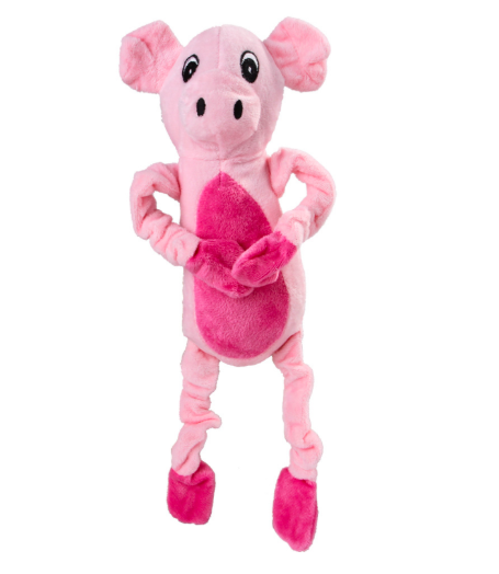 Custom Funny Strong Squeaky Christmas Big Ears Plush Pink Pig Dog Toy