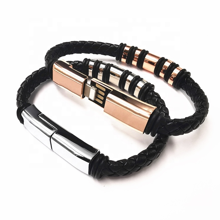 New Design Micro Leather Cell Phone Charger Type C Bangle Wire Data Charging Bracelet Usb <strong>Cable</strong>