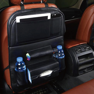 PU leather car storage back seat organizer with table tray