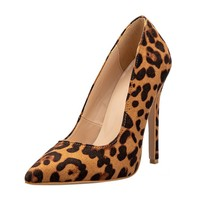 fashion women thin high heel leopard shoes suede material party shoes
