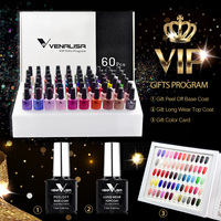 VENALISA Gel Polish VIP Set 60pcs/kit Manicure Nail Art Salon UV Gel Peel Off Base Coat Long Wear Nowipe Topcoat Kit