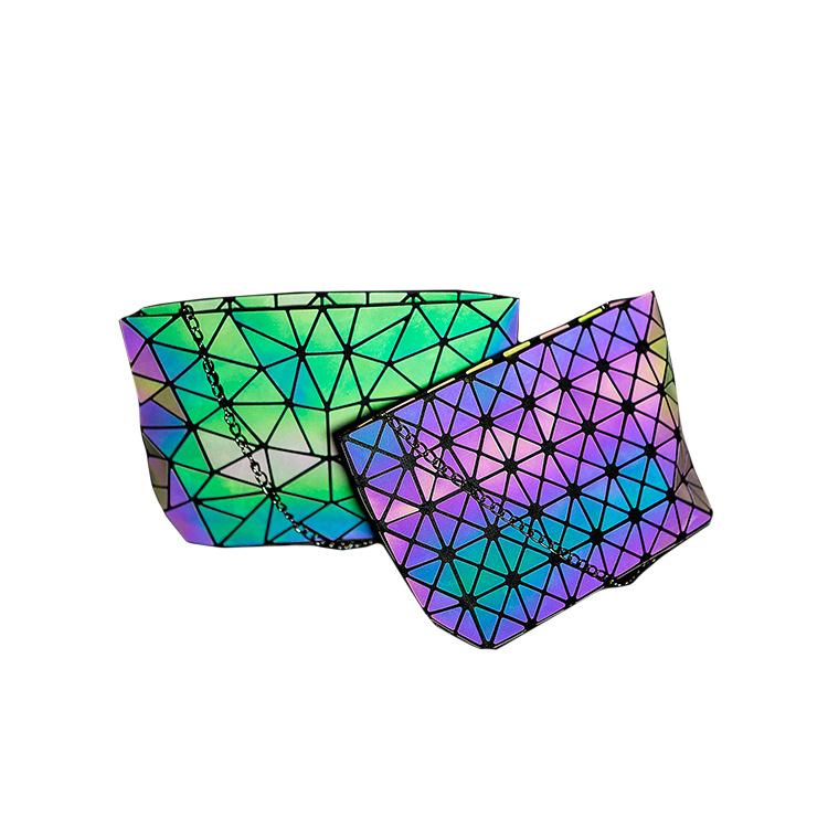 Hot sales  holographic tote bags luminous geometric shape women purses and handbags