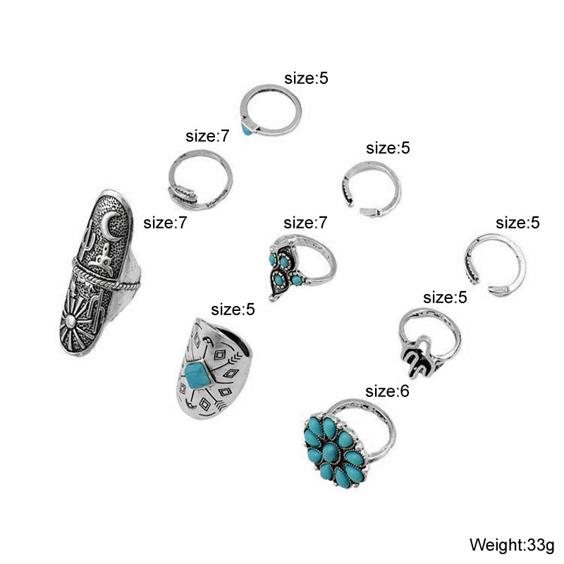 European and American Vintage Crystal Opal Fashion Leaf Stone Knuckle Finger Ring Set Accessories for women girls
