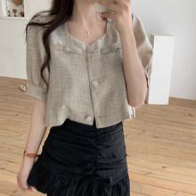2020 корейская мода женская блузка Новый элегантный дизайн с пышными рукавами квадратный вырез короткий Топ однотонный сладкий рубашка(Китай)