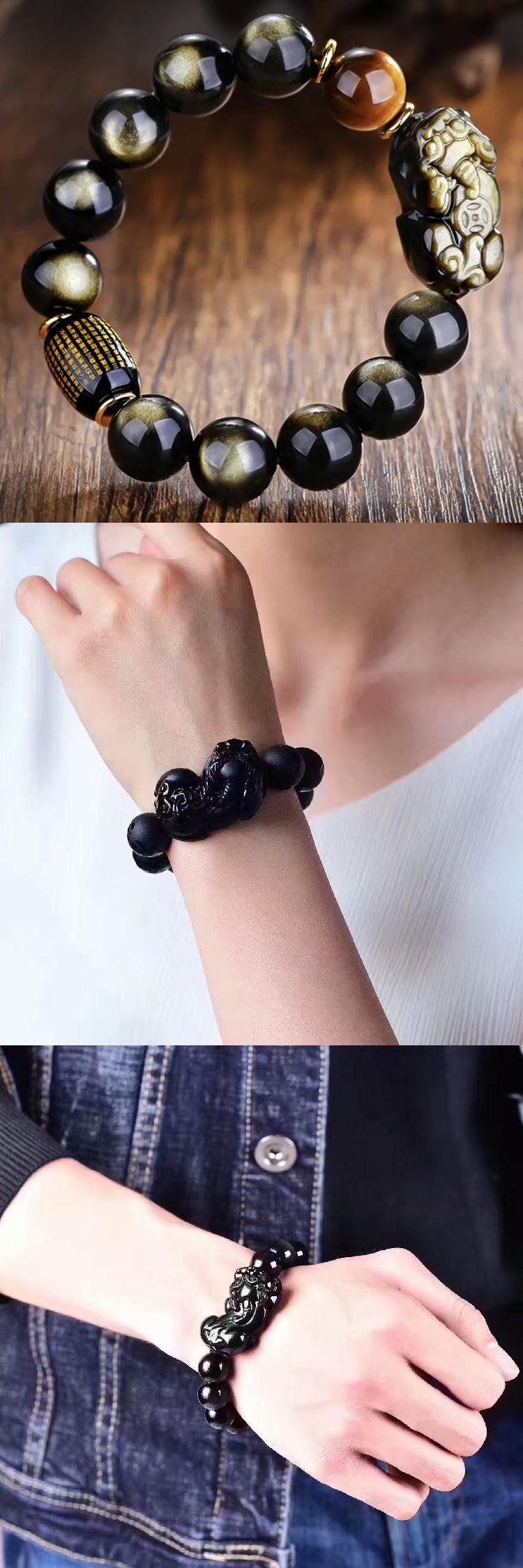 Box gift rose valentines day bracelets bangles jewelry charm fengshui obsidian pixiu bracelet mens