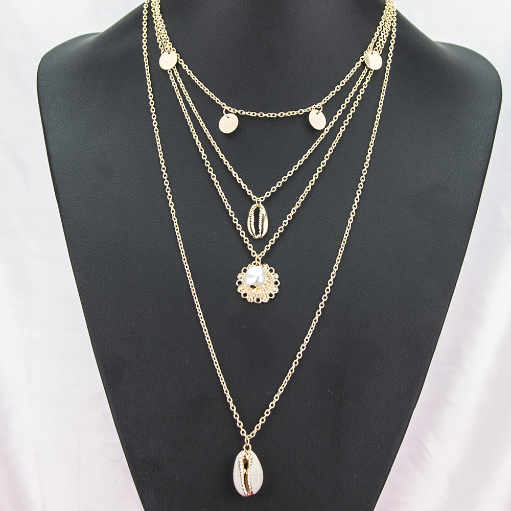 High quality 4 layers necklace jewelry simple sequin clavicle chain fashion bohemia shell pearl disc pendant necklace