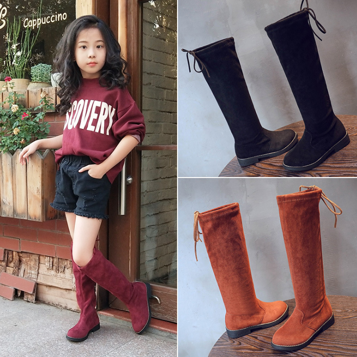 Long Boot Girls Knee High Leather Boots