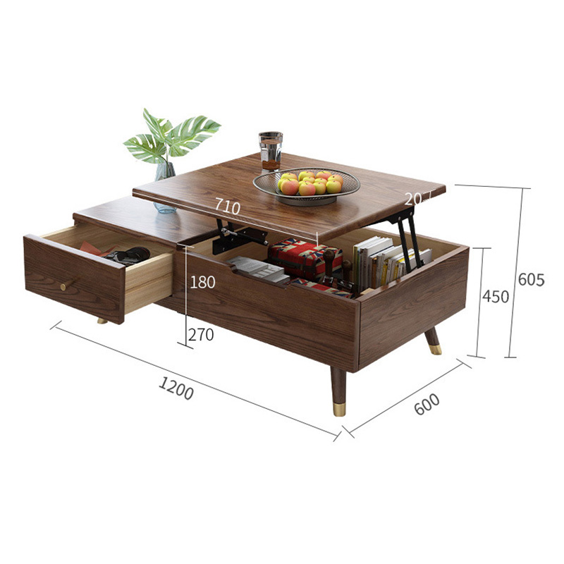 product-BoomDear Wood-Luxury Modern living furniture sets Square soild wooden Elevating tea table wi-2