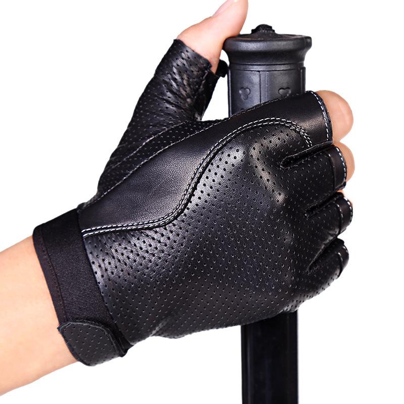 Men's Sheepskin Fingerless Half Finger Driving Fitness Motorcycle CYCLING Leather Gloves
