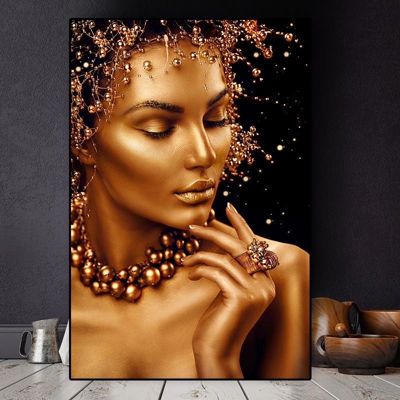 Black and Gold  Canvas Cuadros Posters and Prints Wall Art Picture african woman portrait painting