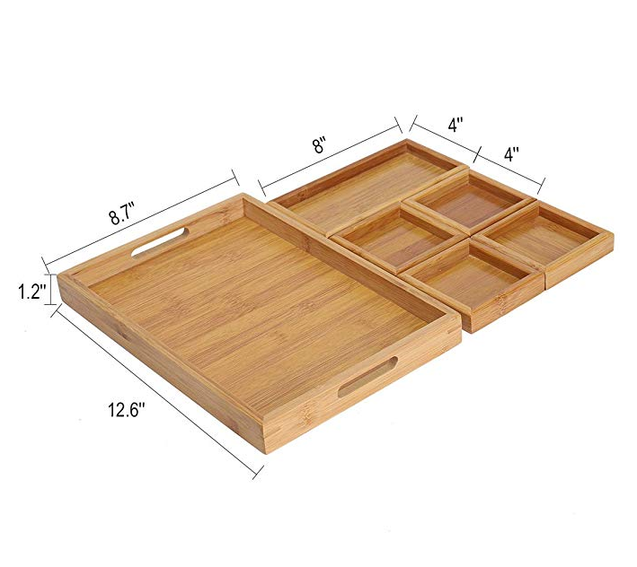 bamboo Wooden 12 X 8 X 1 Inch Decorative Serving Trays for Breakfast, Ottoman, Coffee Table, Food, Desk Organizer, Drawer