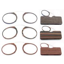Набор деревянных Стиль пенсне очки для чтения с чехлом для очков, для мужчин и женщин Легкий 1,0 1,25 1,5 1,75 2,0 2,25 2,5 2,75 3,0(Китай)
