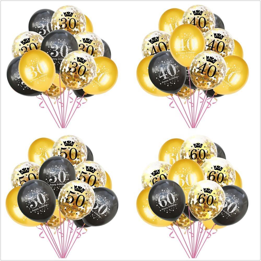 Prata E Preto 30TH Feliz Aniversário Balões Pacote De 6 De Ouro