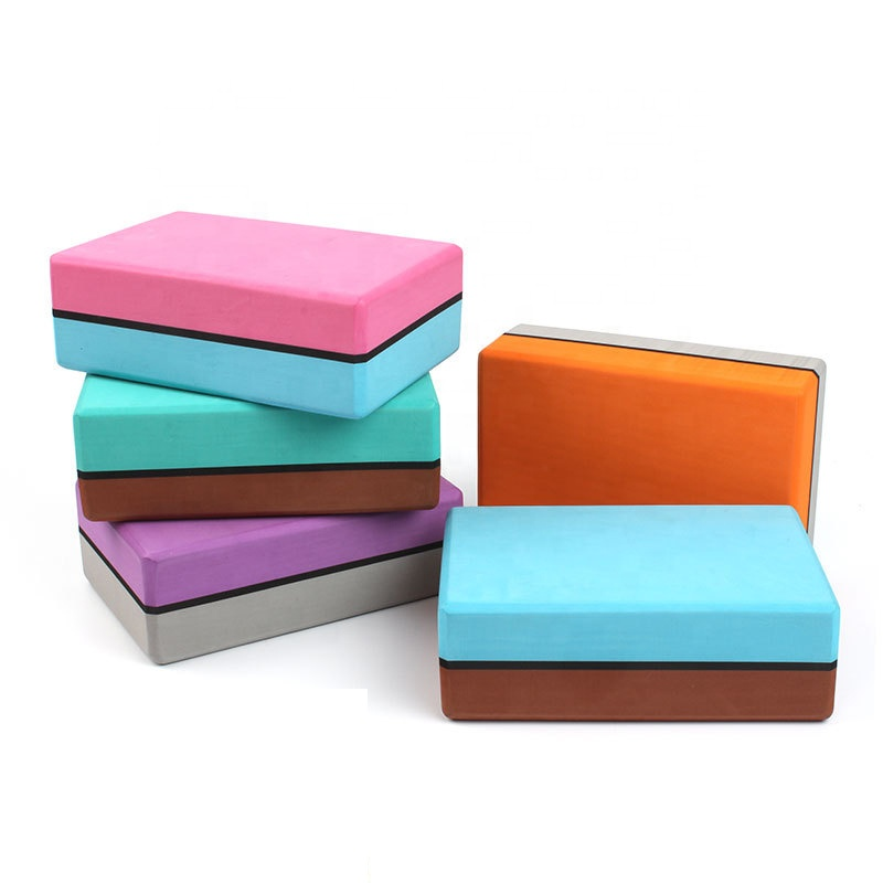 High Density Foam <strong>Eva</strong> Yoga Block Eco Friendly Non Slip Odorless Brick Yoga Double Layers <strong>Bright</strong> Colour Yoga Block Custom LOGO