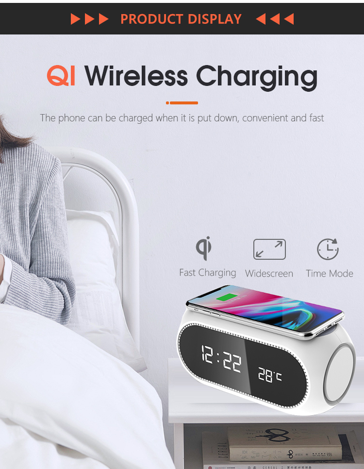 Led Digital Display Alarm Clock With Wireless Charger