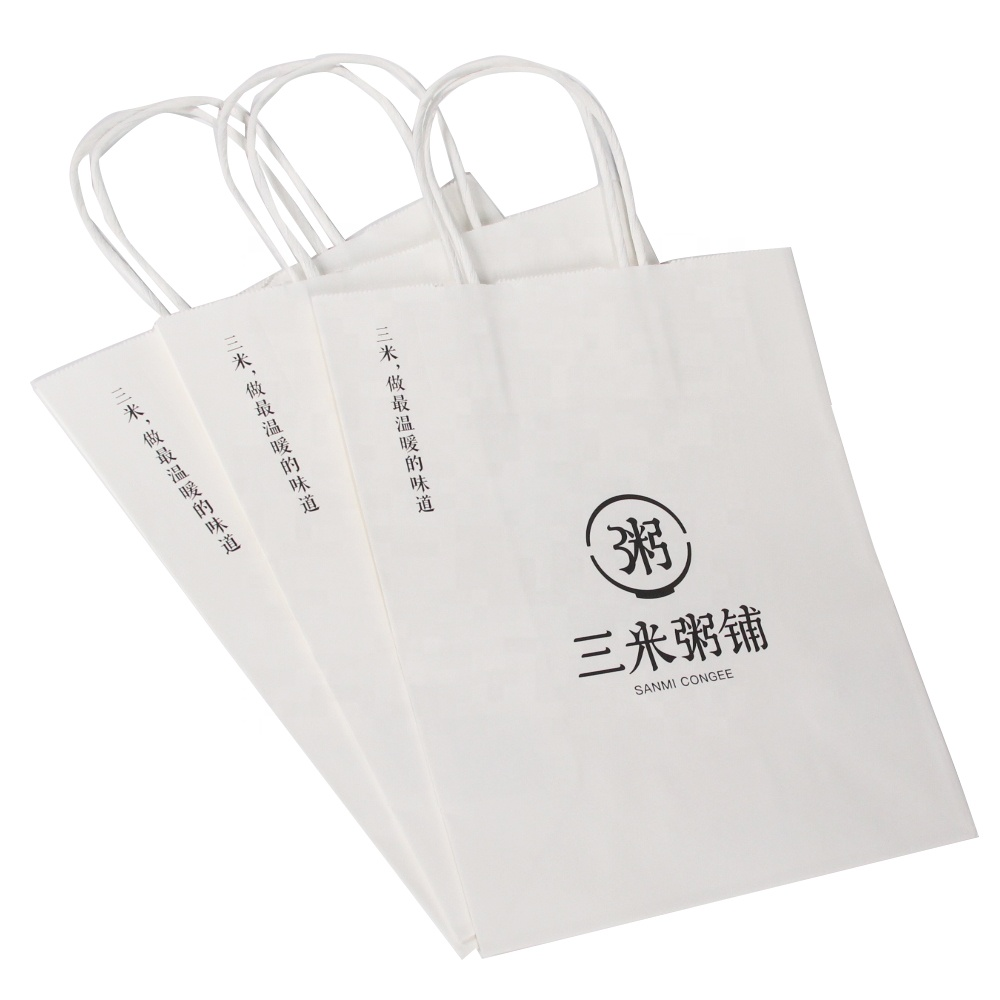 Custom Printed Grocery White Kraft Paper Bags With Your Own Logo