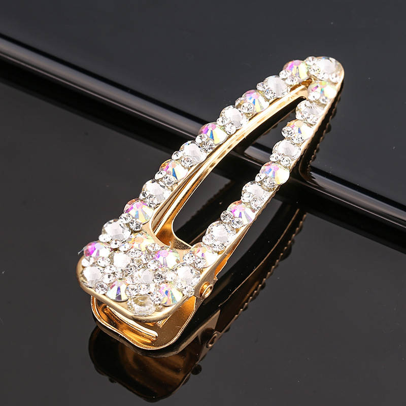 Fashionable rhinestone hair clips geometry duck bill hairpin women hair accessories