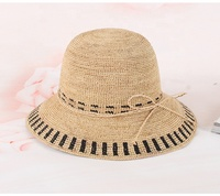 High Quality Elegant Woman Two Tone Crochet Raffia Straw Sun Hat for Beach Travelling Foldable Packing