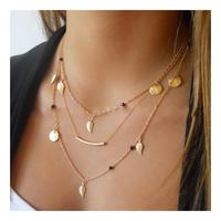New Gold Silver Chain Beads Leaves Essential Oil Pendant Necklace Wholesale Mermaid Pendant Necklace Fashion Jewelry Multi Layer