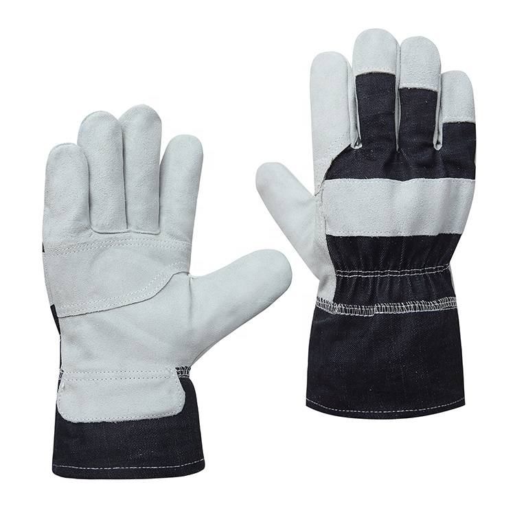 Abrasion cut resistant cow split leather denim fabric industrial safety work gloves