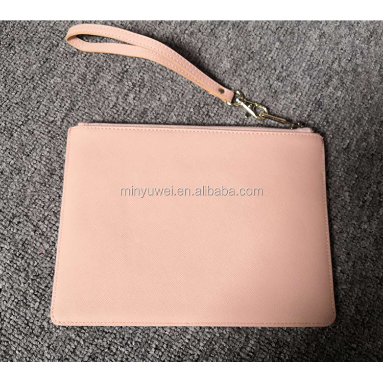 Custom fashion genuine saffiano leather lady pouch wallet with wristlet