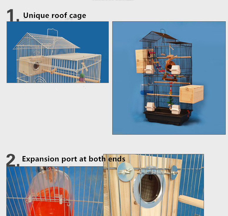 Wire mesh bird cage and house for parrots and birds