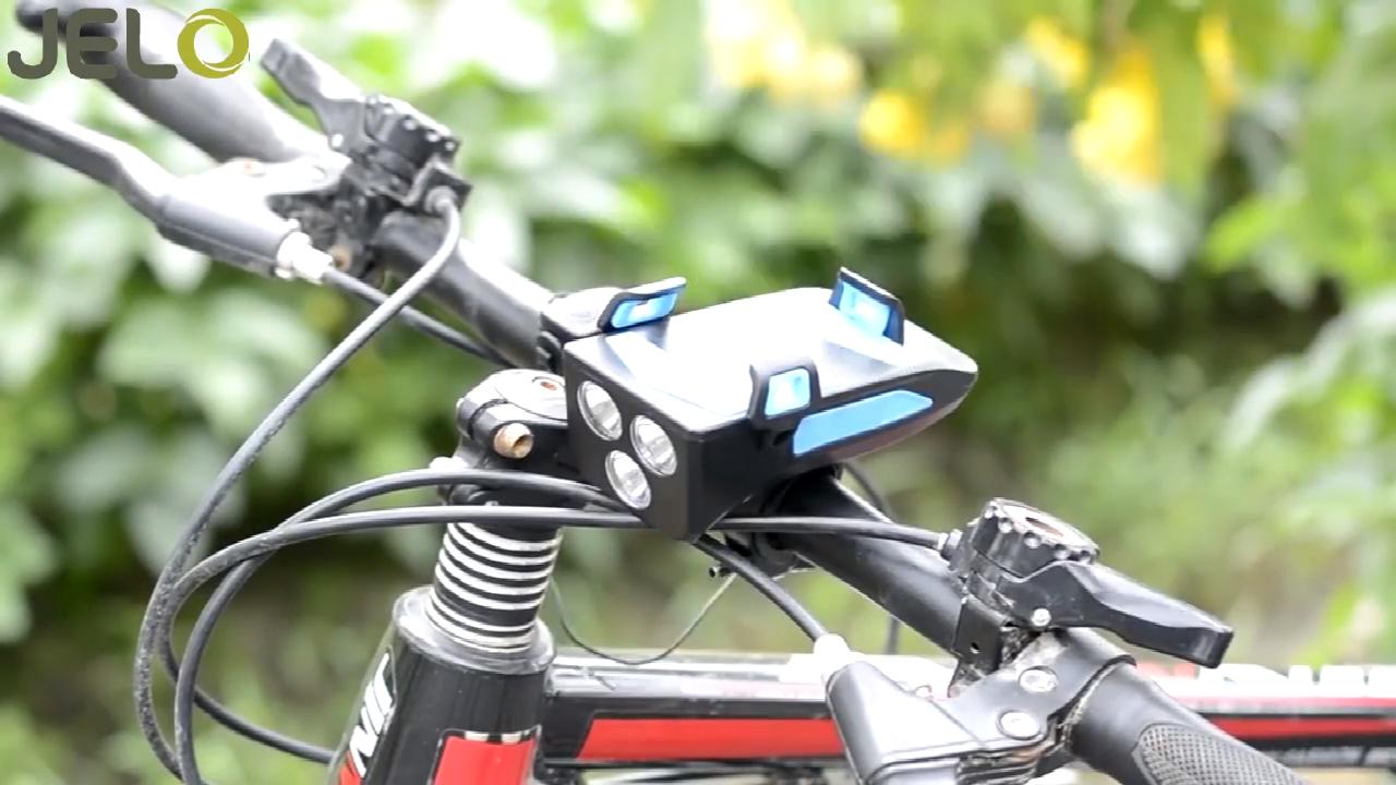 Dudukan Ponsel Sepeda LED Depan Sepeda 4 Dalam 1, Aksesori Sepeda Daya Bank 4000MAh Dapat Diisi Ulang USB Klakson Lampu Sepeda